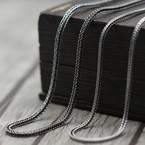 Real Solid 925 Sterling Silver Necklace Snake Bone Chain Men Women 18