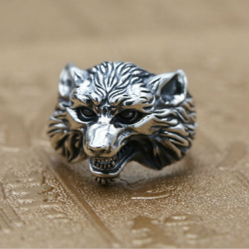 Real 925 Sterling Silver Ring Wolf Punk Adjustable Size 7 8 9 10