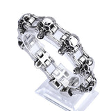 Huge Heavy Punk Men 316L Stainless Steel Bracelet Link Skull Biker Creative 8.7""