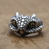 Real 925 Sterling Silver Ring Snake Python's Head Open Size