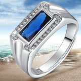 Men's 925 Sterling Silver Ring Synthetic Sapphire Zircon Adjustable Size 7 to 12