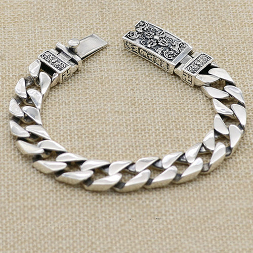 Real 925 Sterling Silver Bracelet Link Vajra Lection Braided Chain 7.09