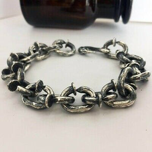 "Real 925 Sterling Silver Bracelet Crow's Head  Hook Nail Link 8.5"" 9""  9.8"""