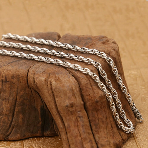 Real Solid 925 Sterling Silver Necklace Oval Loop Braided Chain 20