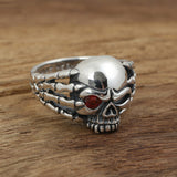 Real 925 Sterling Silver Ring Men's Skull Claws Zircon Inlay Size 8 9 10