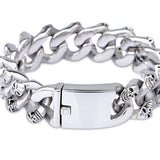 Punk Men 316L Stainless Steel Bracelet Skull Fashion Link Personality 8.9""