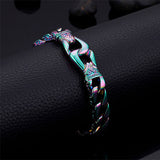 Men 316L Stainless Steel Bracelet Link Punk Braided Fashion Retro 8.9""