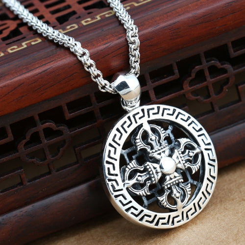 Real 925 Sterling Silver Pendant Cross Vajra Auspicious-Cloud-Disc