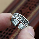 Men Women Solid Pure 999 Fine Silver Ring Cross Adjustable Size 8 9 10 11