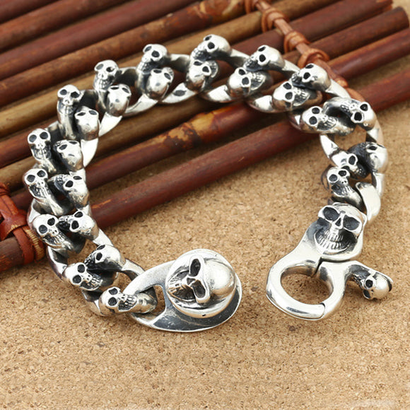 Real 925 Sterling Silver Bracelet Link Chain Skull Huge Heavy Men's 7.9
