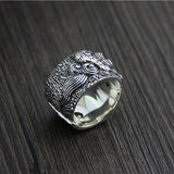 Heavy Solid 925 Sterling Thai Silver Ring Mythical Creature Men's Size 9 to 12