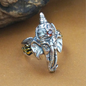 925 Sterling Thai Silver Ring Elephant Geneisha Red Corundum Men's Open Size 8 to 11