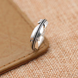 Real 925 Sterling Silver Ring Leaf Feather Size 6 7 8 9
