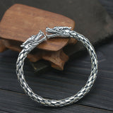 Real Solid 925 Sterling Silver Cuff Bracelet Double Dragon Hemp Rope