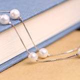 Solid 925 Sterling Silver Necklace Chain Pearl Jewelry 18""