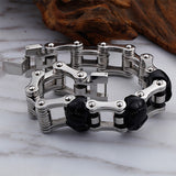 Punk Men 316L Stainless Steel Bracelet Link Biker Skull Fashion 9.1""