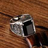 Men's Real 925 Sterling Silver Ring Onyx Holy Flame Size 8 9 10 11 12