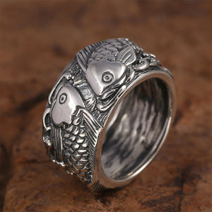 13mm Men's 925 Sterling Solid Thai Silver Ring Two Fish Size 8 9 10 11 Jewelry