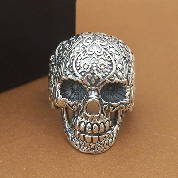 Huge Heavy 925 Sterling Solid Thai Silver Ring Men Biker Skull Size 8 9 10 11 12