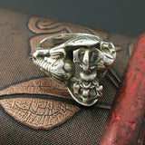 Real 925 Sterling Silver Ring Men's Vajry Pestle Rotation Elephant Size 6 - 11