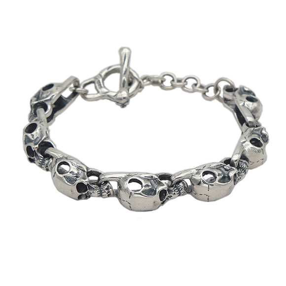 New Men's Solid 925 Sterling Silver Bracelet Link Skull Chain Jewelry