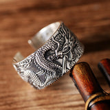 Men's Real 925 Sterling Silver Ring Dragon Buddhist Heart Sutra Open Size 7 - 11