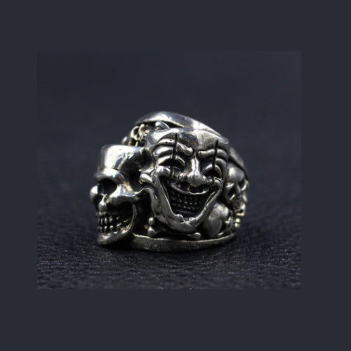 Men's Real 925 Sterling Silver Ring Smiling Skull Ghost Size 7 8 9 10 11
