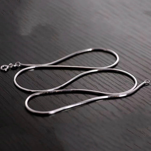 Real 925 Sterling Silver Necklace Four Eight Plane Side Snake Bone Chain 20