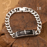 Real 925 Sterling Silver Bracelet Eagle Link Agate Zircon Inlay