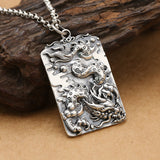 Real Solid 925 Sterling Silver Pendant Dragon King Dog Tag