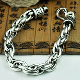 Real 925 Sterling Silver Bracelet Braided Long Round Link