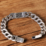 Men's Real Solid 925 Sterling Silver Bracelets Link Dragon Loop Braided 7.9""