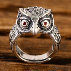 Real 925 Sterling Silver Ring Owl Open Men Women Size 8 9 10 11