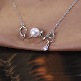 16.5'' Solid 925 Sterling Silver Necklace Chain Natural Freshwater Pearl Pendant Love