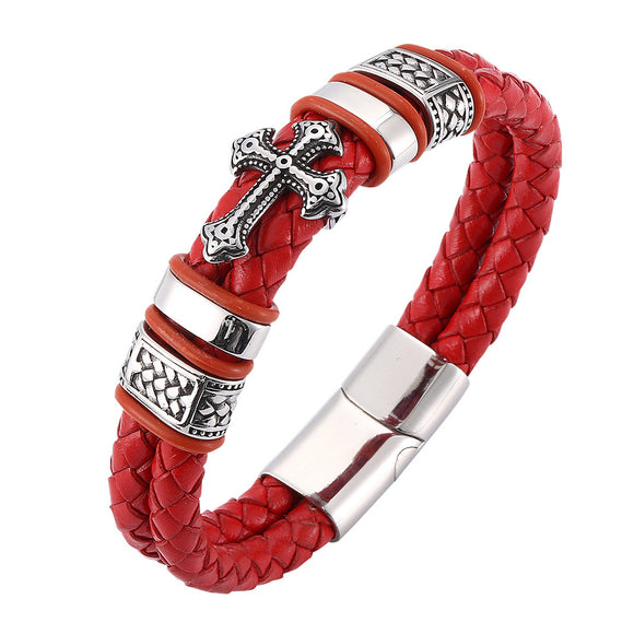 Men 316L Stainless Steel Bracelet Link Arm Ring Braided Cross 6.5