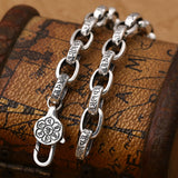 Real 925 Sterling Silver Bracelet Oval Link Lection Chain Vajra