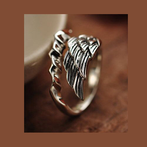 Real 925 Sterling Silver Ring Angel Wings Feather Open Size 8 9 10 11