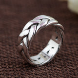 Men's 925 Sterling Solid Thai Silver Ring Braided Size 6 7 8 9 10 11 Jewelry