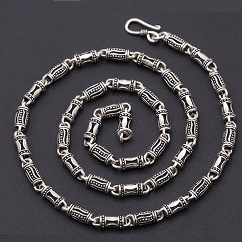 Real Solid 925 Sterling Thai Silver Hollow Canister Chain Men's Necklace18