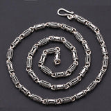 "Real Solid 925 Sterling Thai Silver Hollow Canister Chain Men's Necklace18""-24"""
