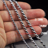"Real Solid 925 Sterling Silver Necklace Braided Rope Chain 18"" 20"" 22"" 24"""