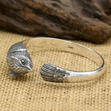 Real 925 Sterling Silver Cuff Bracelet Owl Men's Women's Open Size