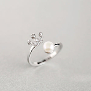 Women's 925 Sterling Silver Ring Freshwater Pearl Crown Adjustable Size 4- 8
