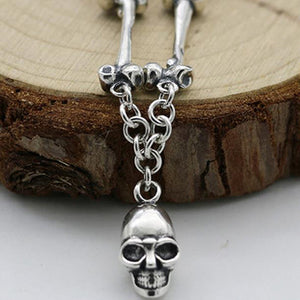 "Real 925 Sterling Silver Pendant Necklace Skull Bone Chain Men's Size 24"" - 32"""