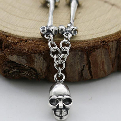 Real 925 Sterling Silver Pendant Necklace Skull Bone Chain Men's Size 24
