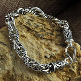 "Real 925 Sterling Silver Bracelet Link Chain Braided Loop Thick Mens 7.1"" - 8.7"""