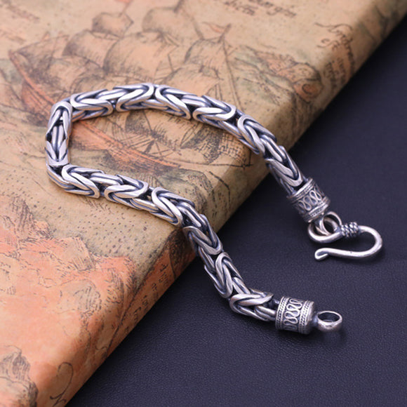 Men's Solid 925 Sterling Silver Bracelet Link Chain Well Stripe Square Jewelry