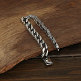 Heavy Men's Solid 925 Sterling Silver Bracelet Link Chain Loop Stripe Jewelry