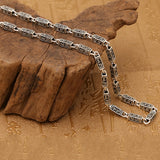 "Real 925 Sterling Silver Necklace Om Mani Padme Hum Rectangle Chain 20"" - 26"""