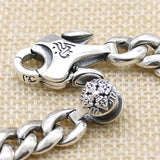 Real 925 Sterling Silver Bracelet Link Vajra Nine Palaces Eight Diagrams Chain